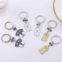 Porte-clés keychain keychain chien amoureux amis cadeau mignon schnauzer clé porte-clés animal animal bijoux sac de voiture charme