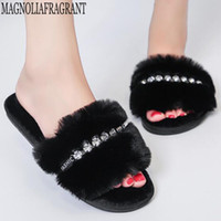 Fashion Rhinestone Women Indoor Slippers Warm Fur Home Floor Bedroom Shoes Soft Sole Non-Slip Female Cotton Slippers y371 201105