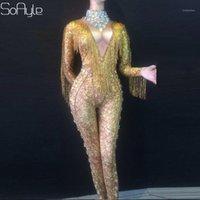 Женские комбинезоны Rompsers Soayle Женский певец DJ Gold Chinestone Tassel Sexy Fake Meat High Elastic с длинным рукавом цельные брюки