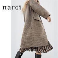NARCI Новые женские проверенные длинные пальто для зимних весенних дам Гусенькая клетчатая клетчатая пальто Браун.