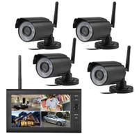 "Kablosuz Kamera Kitleri 7 ""LCD Monitör Ev Güvenlik 4 Sistemi 2.4G Quad SD Kayıt PIR Alarmı 4CH Dijital CCTV DVR Gözetim Kiti DIY"