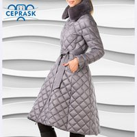 Ceprask High Quality women's winter coats Plus Size Long female jacket Slim Belt fashion Warm Parka camperas casaco 201014