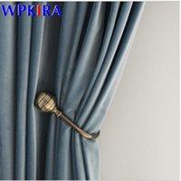 الستائر الستائر الستائر الخفيفة سميكة الستائر غرفة المعيشة شير ستارة تعتيم ضوء الفاخرة الأزرق الستائر الرمادية W-AD582 # 30