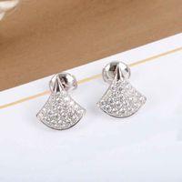 S925 الفضة أعلى جودة مروحة شكل قرط مع الماس للنساء مجوهرات الزفاف هدية PS8708