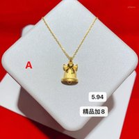 Ketten HX 24K Reine Gold Halskette Echt AU 999 Festkette Hell Einfache Upscale Trendy Classic Fine Jewelry Verkaufen 20211