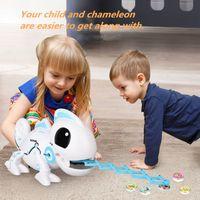 RC Robot Oyuncaklar Bukalemun Pet Değiştirilebilir Işık Elektronik Model Hayvan Akıllı Uzaktan Kumanda Robot Oyuncak Noel Hediyeleri 2.4Chz Y200413