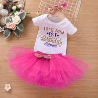 Babykleding set unicorn romper + tutu rokken outfits zomer 2021 kinderen boutique kleding 3-24m baby meisjes verjaardagsfeestje aankleden