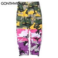 Gonthwid Tri Color Camo Camo Patchwork Cargo Pantalons Hop Hop's Casual Camouflage Pantalon Mode Streetwear Joggers Pantalon de survêtement T200706