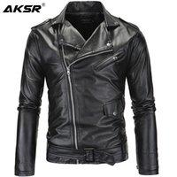 Мужская меховая из искусственной кожи кожаный куртка для куртки воротник обрезанный диагональный молния панк стиль повседневная тонкая пальто мужские размеры M-4XL