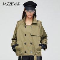 JAZZEVAR Nouveau coton femmes trench-coat d'automne d'arrivée de la mode à double boutonnage courte des vêtements amples vêtements de plein air 9018 200930