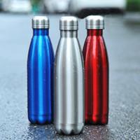 Duplo Walled 500ml Stainless Steel Coke Forma Água Cola garrafas em forma isolados a vácuo Outdoor Viagem Garrafa de água mar navio EEE2611