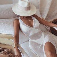 Newasia White Häkeln Strandkleid Frauen Coverups Backless Cover Up Gestrickte Maxi Kleider Sommer Übersehen Durch Seite Split Sexy Kleid Y1224