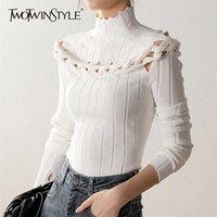 DWOTWINSTYLE SLIM TWIST CUNK свитер для женщин Turtleneck с длинным рукавом полые сексуальные вязаные вершины женские мода новая одежда 201221