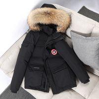 Winter Jacket Brasão de Down Parkas Fur com capuz Collar -30 Degree quente grossa Windbreaker homens Windproof revestimentos Coats Tamanho S-3XL