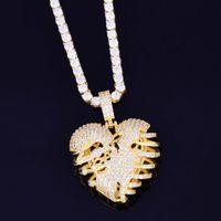 Gold Color Broken Skeleton Heart Heart Collana con catena di tennis AAA cubic zircone Hip hop hip hop rock gioielli Y1220