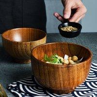 1pc stile giapponese in legno di riso zuppa di zuppa di insalata di cibo contenitore grande piccola ciotola per bambini stoviglie in legno utensili 201214