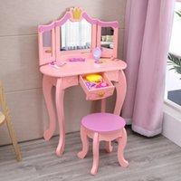Waco Çocuk Masaları, Küçük Lady Gisele Ahşap Pretend Oyuncak Makyaj Çocuklar Vanity Masa Sandalye Tabure Oyna Çekmeceli ve Ayna Kızlar Hediye Için Set