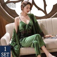 Bannirou Kadın Pijama Yumuşak Sonbahar Kış Kadife Robe Setleri Seksi Dantel Sling Rahat Kadın Pijama Zarif Gecelik 201113