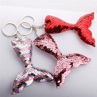 귀여운 인어 물고기 꼬리 반짝이 스팽글 스팽글 키 체인 여성 여자 핸드백 지갑 열쇠 고리 쥬얼리 선물 WQ653