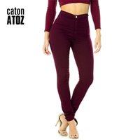 Catonatoz 2035 أمي جينز جديد بالجملة امرأة الدينيم سروال رصاص الأعلى تمتد الجينز عالية الخصر السراويل النساء عالية الخصر جينز فام 201223