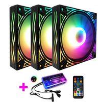 Ventilatore RGB 12cm Cassa del telaio Fan Dor Desktop Computer RGB Raffreddamento Musica di raffreddamento Supporto per controllo MOBO 5V Aura Sync Style Wave Style1