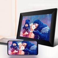 WACOのタッチスクリーンスマートデジタル写真フレーム、10インチWiFiクラウドIPS HDディスプレイ、16GBストレージ、自動回転、写真、マイクロSDカード