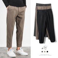 Herren-Herbst-Winter-reine Farbe Stretch Woll Trousersstraight Anzug-Hosen lose Schleifen Hosen