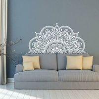 223 * 110 cm Tamaño de lage Dorado de la pared de plata Mandala, Media Mandala Vinyl Wall Etiquetas de pared, Ideas de yoga Theme Murales Decoración del hogar LC1475 201130
