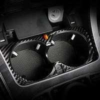 Автомобиль Styling углеродного волокна воды Кубок держатель рамки Обрезка наклейки для Mercedes Benz C Class W205 C180 C200 C300 КЗС Аксессуары