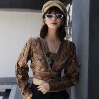 [LANMREM] Осенью и зимой новые продукты моды для печати Змея V-образным вырезом с длинным рукавом Тонкий Тонкий куртка PA483 201013