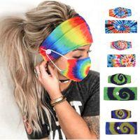 Tie-краситель Группа волос Маска Set Спиральной Pattern Кнопка Анти-поводок для волос маски для лица платке аксессуары Движения Упругие Дизайнер оголовье ж-00384