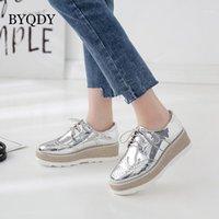 Zapatos de vestir BYQDY MED Tacones Plataforma Mujer Bombas de mujer con punta redonda de punta.