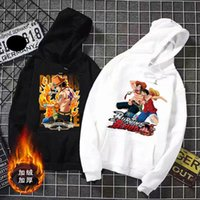 Automne Cartoon Man Harajuku japonais Anime Une pièce Toison Hoodies hiver Japon Sweat Streetwear Pull 201021