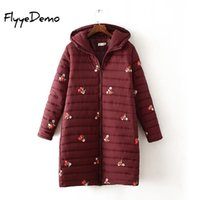 Cotton- padded Jacket Winter Parkas Winter Floral Embroidery ...