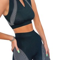 Women' s 2 piece sports sleeveless suit neck zipper crop...