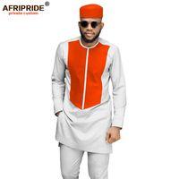 Homens Africanos Roupas Tradicionais Conjunto Dashiki Casaco Camisa e Calças de Ankara e Chapéu Tribal Trajes Tracksuit AfriRide LJ201117