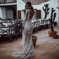 White Sequined Lace Mermaid Wedding Dresses with Long Sleeve...