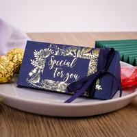 웨딩 축하 사탕 상자 삼각형 초콜릿 선물 포장 상자 골드 도금 선물 랩 실크 리본 뜨거운 판매 고품질 0 33cy m2