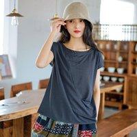 Johnature Women Casual camisetas 9 cor O-pescoço manga curta 2020 Nova Verão Soft Patchwork roupas femininas1