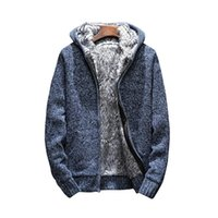knitting thick Zip Hooded 2018 Men' s Sweaters Autumn Wi...
