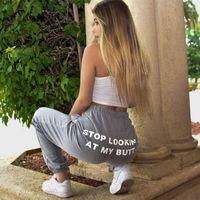 Pantalon de survêtement de la marque Femmes SUPZXU Lettre Arrêtez de regarder My BusweatPants Femmes Joggers Hommes Expédition Hip Hop Hop High Taille Pant1