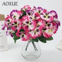 객실 결혼식 장식 시뮬레이션 가짜 꽃 생활 가정을위한 창조적 인 1PC 5 가지 팬지 진 인공 꽃다발 실크 꽃