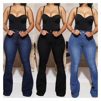 Estiramento de cintura alta womens jeans roupas populares plus size estiramento casual denim calças jeans calças mulheres empilhadas