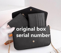 3 색 양각 엠보싱 여자 가방 핸드백 지갑 원래 상자 날짜 코드 패션 도매 검사기 격자 무늬 꽃