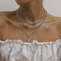 Kilit Kolye Kolye Gümüş Altın Zincirler Wrap Yaka Çok Katmanlı Bildirimi Kolye Chokers Kadınlar için Moda Takı Will ve Sandy Hediye