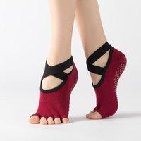 Носки йоги для женщин Внутренний не скользкий балет танцующий носок дышащий комфортный крест хлопчатобумажные защелкивающиеся носки без