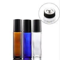 Nouvelle bouteille rouleau 10ml verre bleu ambre clair vide parfum d'huile essentielle avec une nouvelle balle pour cosmétique