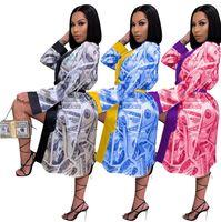 Mujeres Diseñador Ropa Sexy Dollar Impreso Moda Mangas largas Pijama Inicio Use Nightdress Damas Vestido Hogar Abrigo CZ102802