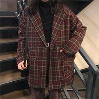 Korea Ulzzang loses karierte Jacke weiblicher Herbst neu ins Harajuku Vintage Chic mit langen Ärmeln Knopf lässige Damenmode jacketX1016