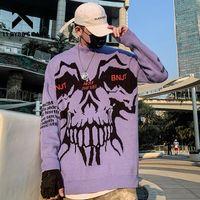 11 BYBB'nin Koyu Örme Kazak Erkekler Canavar Kafatası Kış Harajuku Streetwear Hip Hop Erkek Pamuk Kazak Dış Giyim Tops Sweetshirt 201125
